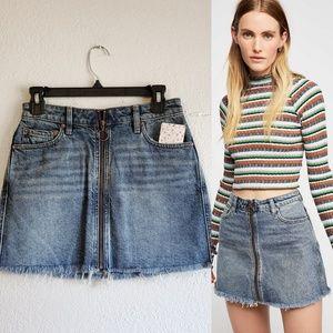 Free People Zip it Up Denim Mini Skirt (NWT)